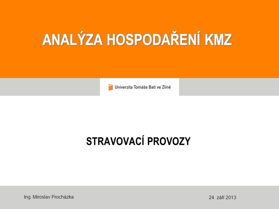 ANALÝZA HOSPODAŘENÍ KMZ ANALÝZA HOSPODAŘENÍ KMZ STRAVOVACÍ PROVOZY Ing.