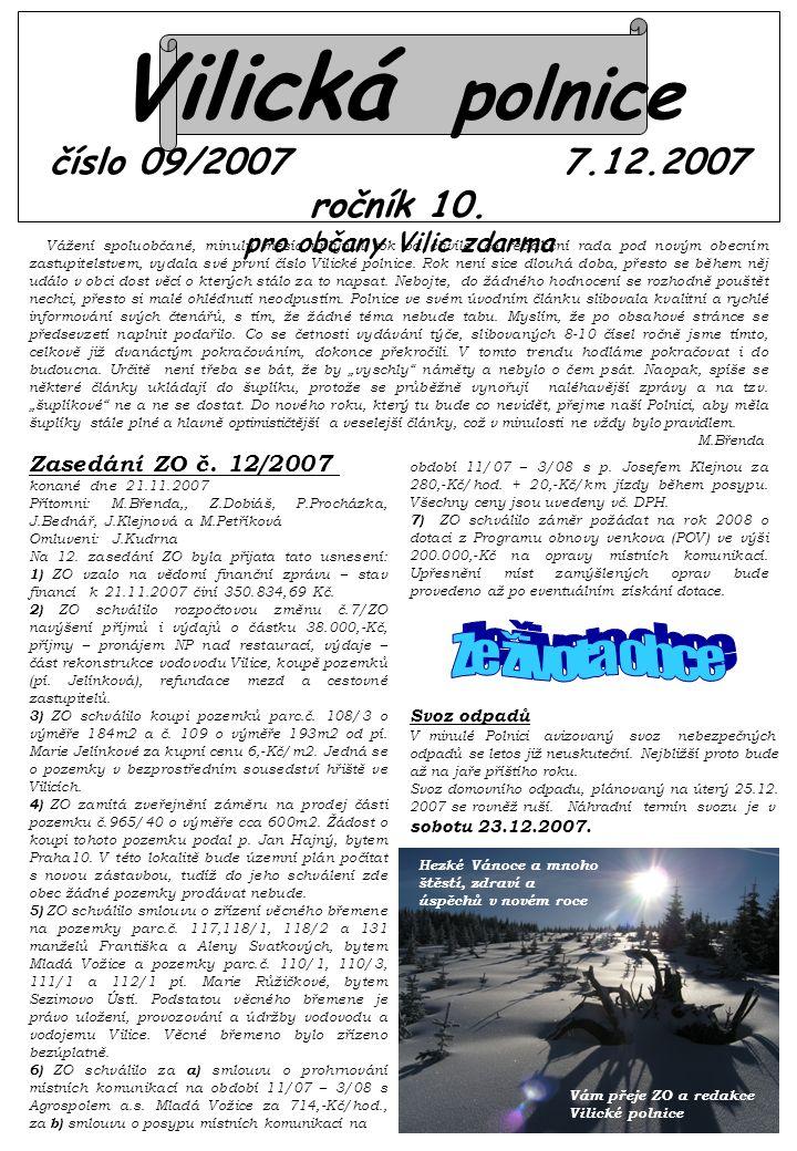 Vilická polnice číslo 09/2007 7.12.2007 ročník 10.