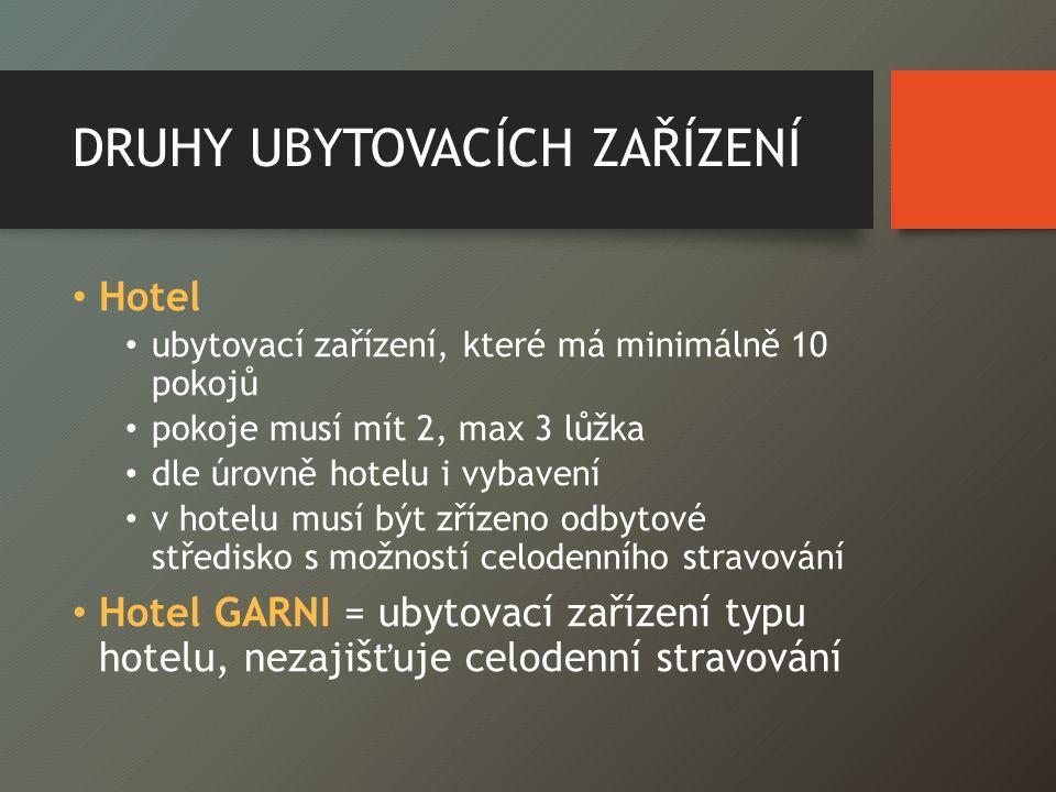 DRUHY UBYTOVACÍCH ZAŘÍZENÍ Hotel ubytovací zařízení, které má minimálně 10 pokojů pokoje musí mít 2, max 3 lůžka dle úrovně hotelu i vybavení v hotelu