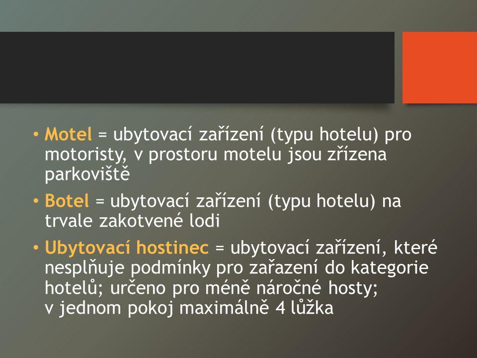 Motel = ubytovací zařízení (typu hotelu) pro motoristy, v prostoru motelu jsou zřízena parkoviště Botel = ubytovací zařízení (typu hotelu) na trvale zakotvené lodi Ubytovací hostinec = ubytovací zařízení, které nesplňuje podmínky pro zařazení do kategorie hotelů; určeno pro méně náročné hosty; v jednom pokoj maximálně 4 lůžka