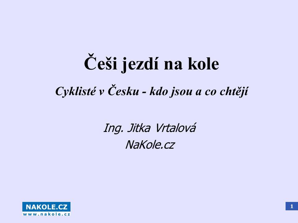 1 Češi jezdí na kole Ing. Jitka Vrtalová NaKole.cz Cyklisté v Česku - kdo jsou a co chtějí