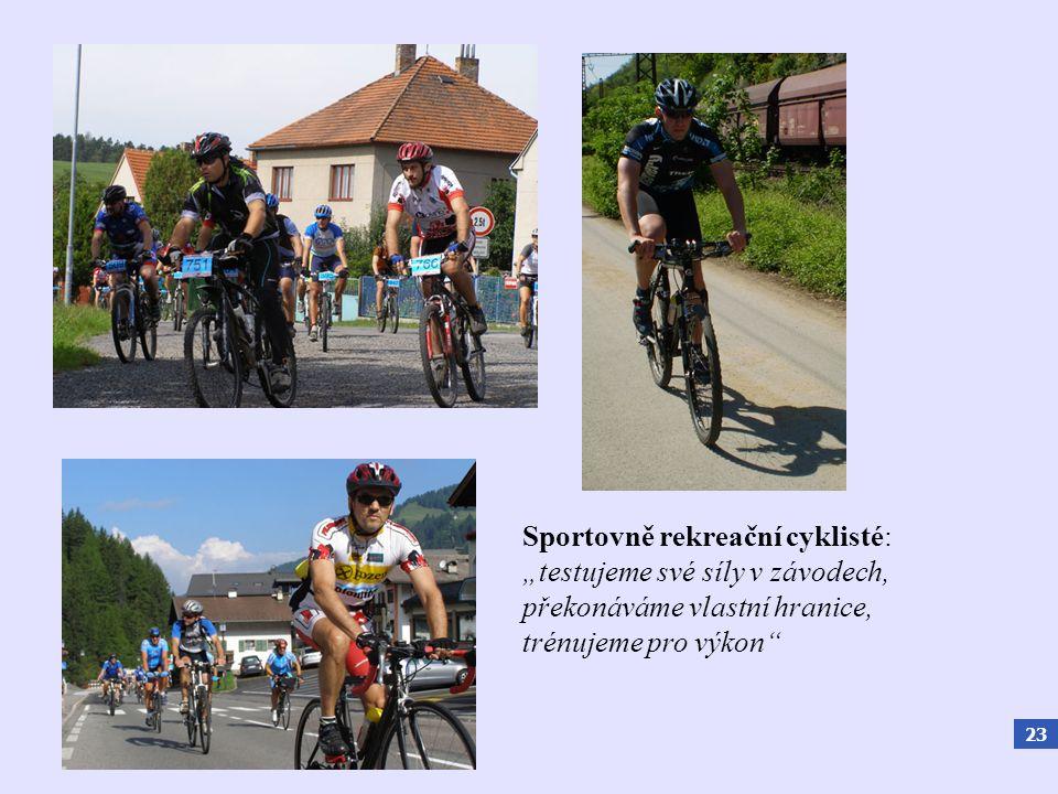 """23 Sportovně rekreační cyklisté: """"testujeme své síly v závodech, překonáváme vlastní hranice, trénujeme pro výkon"""