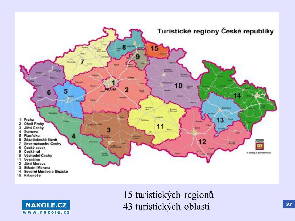 27 15 turistických regionů 43 turistických oblastí