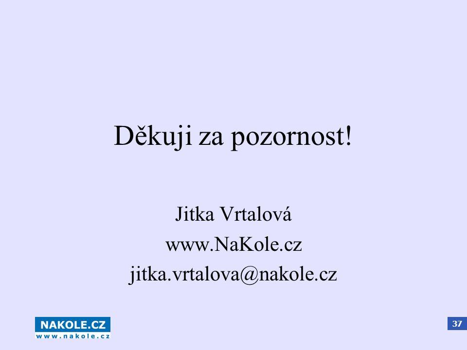 37 Děkuji za pozornost! Jitka Vrtalová www.NaKole.cz jitka.vrtalova@nakole.cz