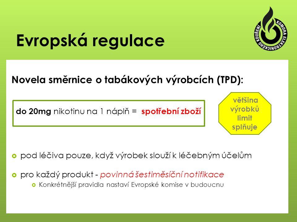 Evropská regulace Novela směrnice o tabákových výrobcích (TPD):  pod léčiva pouze, když výrobek slouží k léčebným účelům  pro každý produkt - povinná šestiměsíční notifikace  Konkrétnější pravidla nastaví Evropské komise v budoucnu většina výrobků limit splňuje do 20mg nikotinu na 1 náplň = spotřební zboží