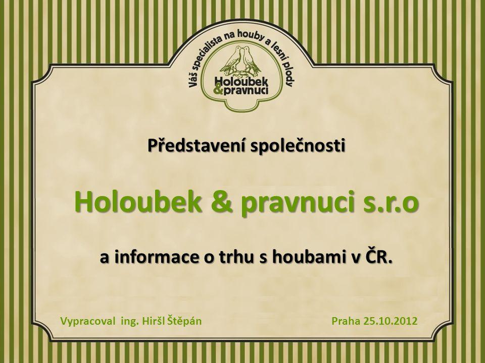 Představení společnosti Holoubek & pravnuci s.r.o a informace o trhu s houbami v ČR.