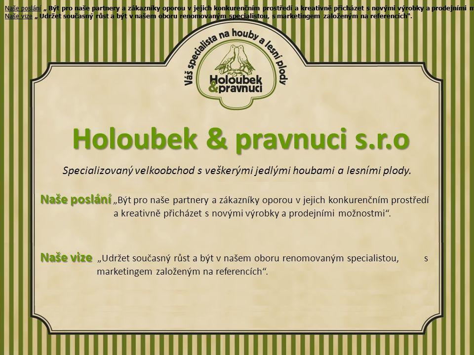 Holoubek & pravnuci s.r.o Specializovaný velkoobchod s veškerými jedlými houbami a lesními plody.