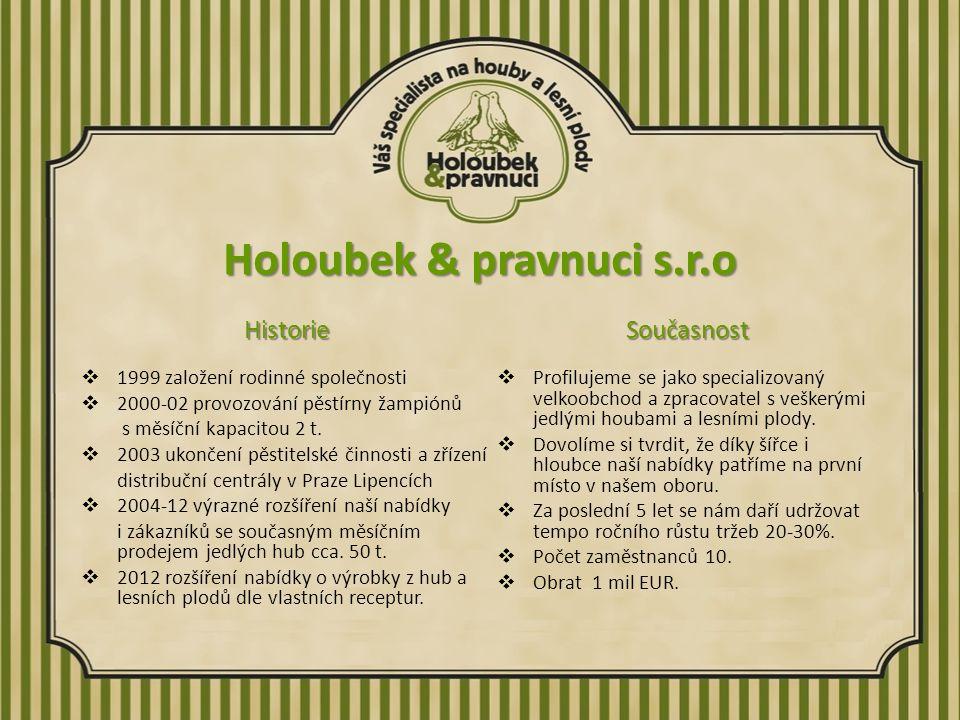 Holoubek & pravnuci s.r.o Historie  1999 založení rodinné společnosti  2000-02 provozování pěstírny žampiónů s měsíční kapacitou 2 t.