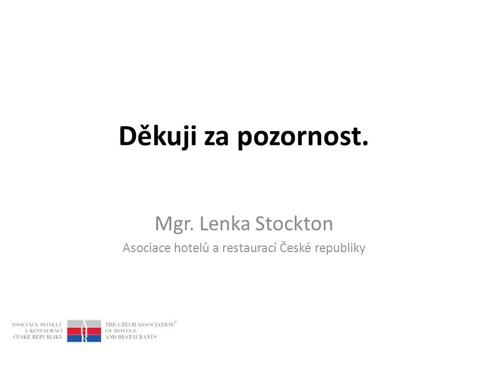 Děkuji za pozornost. Mgr. Lenka Stockton Asociace hotelů a restaurací České republiky