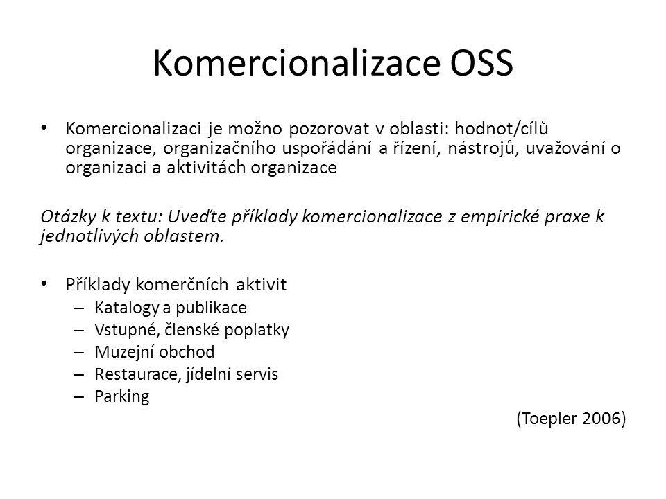 Komercionalizace OSS Komercionalizaci je možno pozorovat v oblasti: hodnot/cílů organizace, organizačního uspořádání a řízení, nástrojů, uvažování o organizaci a aktivitách organizace Otázky k textu: Uveďte příklady komercionalizace z empirické praxe k jednotlivých oblastem.