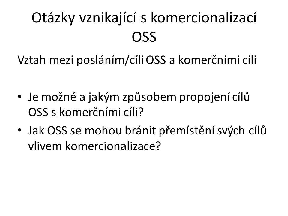Otázky vznikající s komercionalizací OSS Vztah mezi posláním/cíli OSS a komerčními cíli Je možné a jakým způsobem propojení cílů OSS s komerčními cíli.