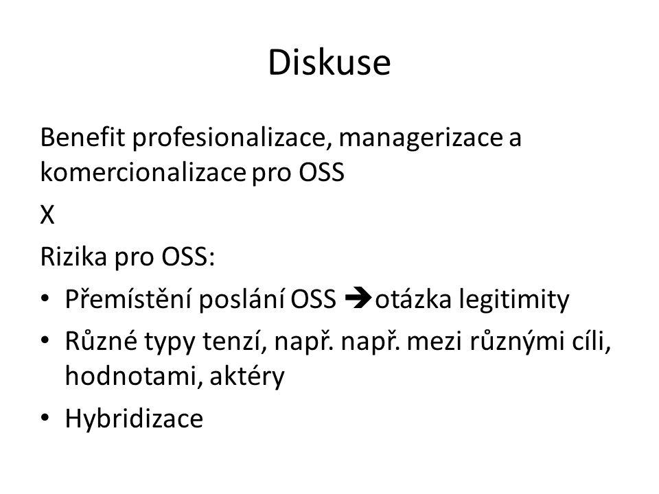 Diskuse Benefit profesionalizace, managerizace a komercionalizace pro OSS X Rizika pro OSS: Přemístění poslání OSS  otázka legitimity Různé typy tenzí, např.