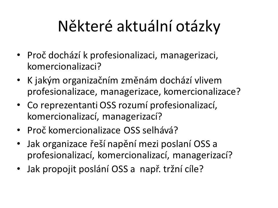 Některé aktuální otázky Proč dochází k profesionalizaci, managerizaci, komercionalizaci.