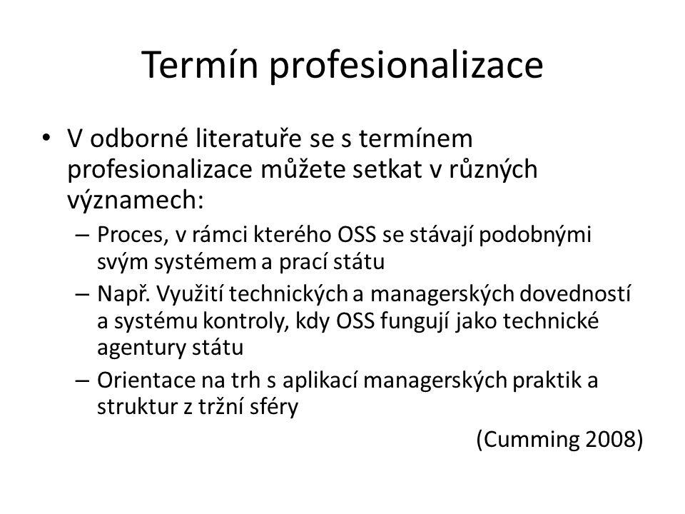 Termín profesionalizace V odborné literatuře se s termínem profesionalizace můžete setkat v různých významech: – Proces, v rámci kterého OSS se stávají podobnými svým systémem a prací státu – Např.