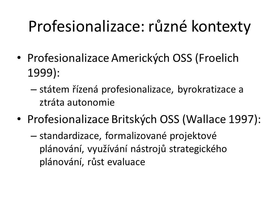 Profesionalizace: různé kontexty Profesionalizace Amerických OSS (Froelich 1999): – státem řízená profesionalizace, byrokratizace a ztráta autonomie Profesionalizace Britských OSS (Wallace 1997): – standardizace, formalizované projektové plánování, využívání nástrojů strategického plánování, růst evaluace