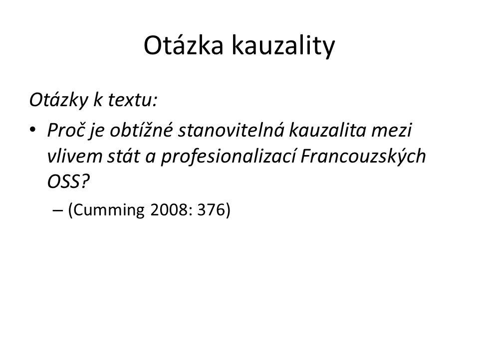 Otázka kauzality Otázky k textu: Proč je obtížné stanovitelná kauzalita mezi vlivem stát a profesionalizací Francouzských OSS.