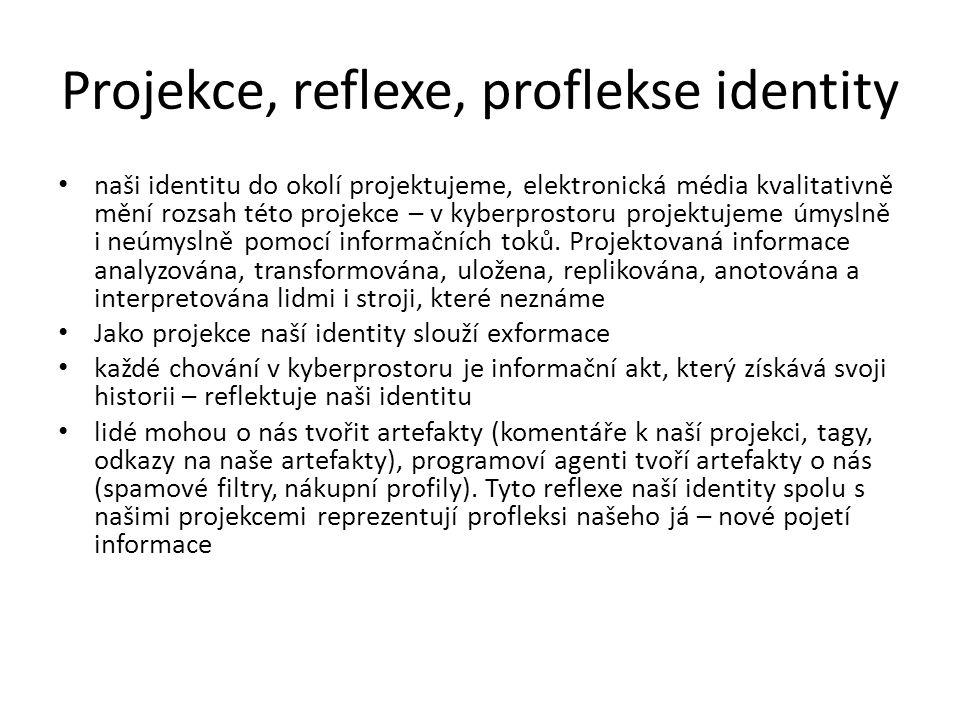 Projekce, reflexe, proflekse identity naši identitu do okolí projektujeme, elektronická média kvalitativně mění rozsah této projekce – v kyberprostoru projektujeme úmyslně i neúmyslně pomocí informačních toků.