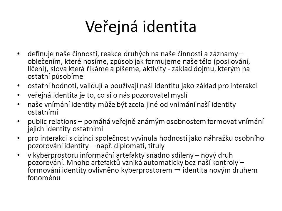 Veřejná identita definuje naše činnosti, reakce druhých na naše činnosti a záznamy – oblečením, které nosíme, způsob jak formujeme naše tělo (posilování, líčení), slova která říkáme a píšeme, aktivity - základ dojmu, kterým na ostatní působíme ostatní hodnotí, validují a používají naši identitu jako základ pro interakci veřejná identita je to, co si o nás pozorovatel myslí naše vnímání identity může být zcela jiné od vnímání naší identity ostatními public relations – pomáhá veřejně známým osobnostem formovat vnímání jejich identity ostatními pro interakci s cizinci společnost vyvinula hodnosti jako náhražku osobního pozorování identity – např.