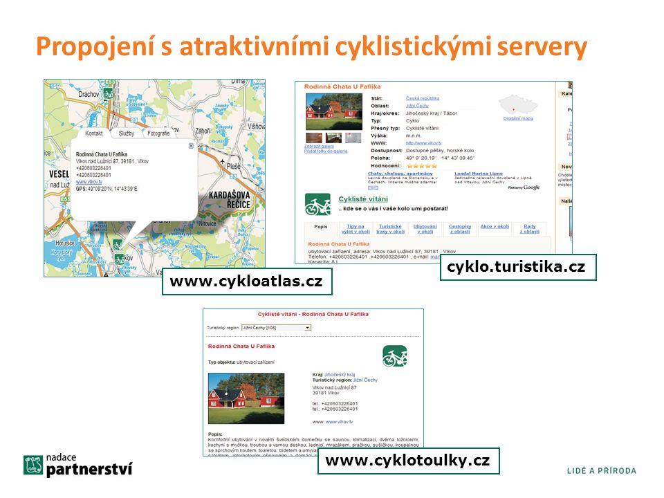 www.cyklotoulky.cz cyklo.turistika.cz www.cykloatlas.cz Propojení s atraktivními cyklistickými servery