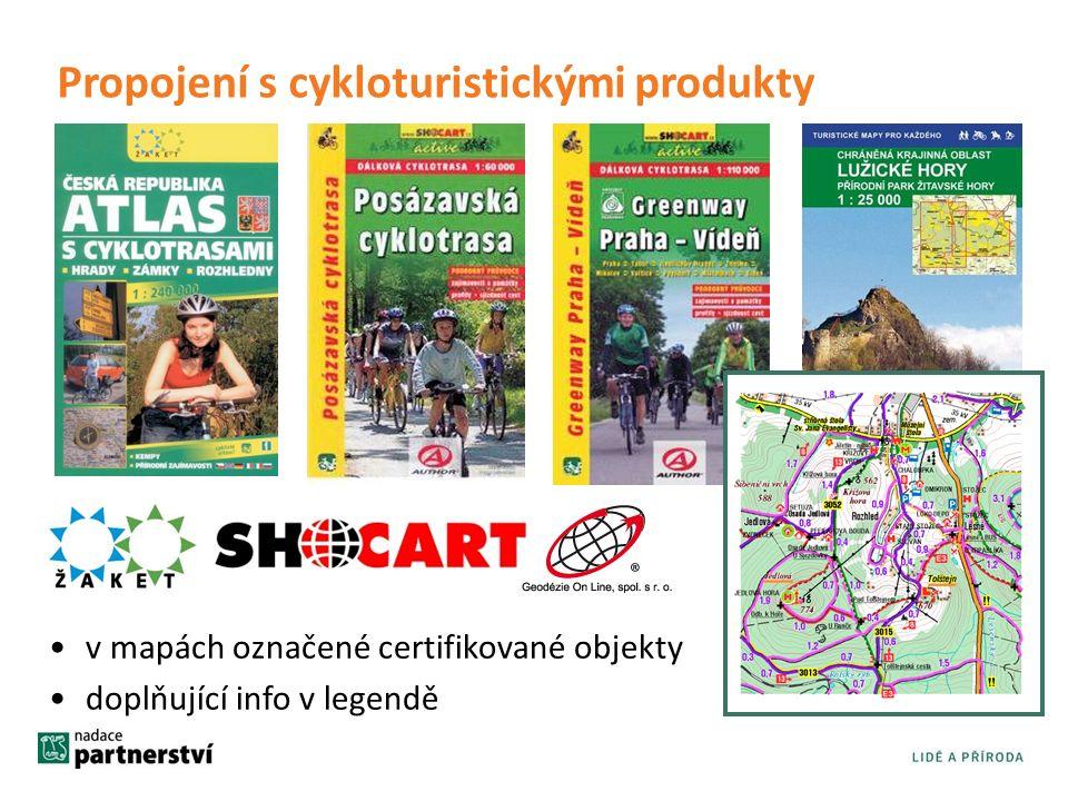 Propojení s cykloturistickými produkty v mapách označené certifikované objekty doplňující info v legendě