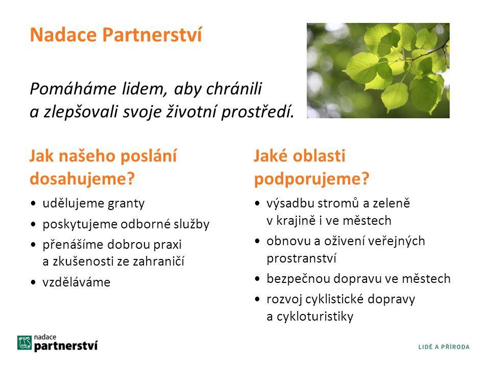 Nadace Partnerství Pomáháme lidem, aby chránili a zlepšovali svoje životní prostředí.