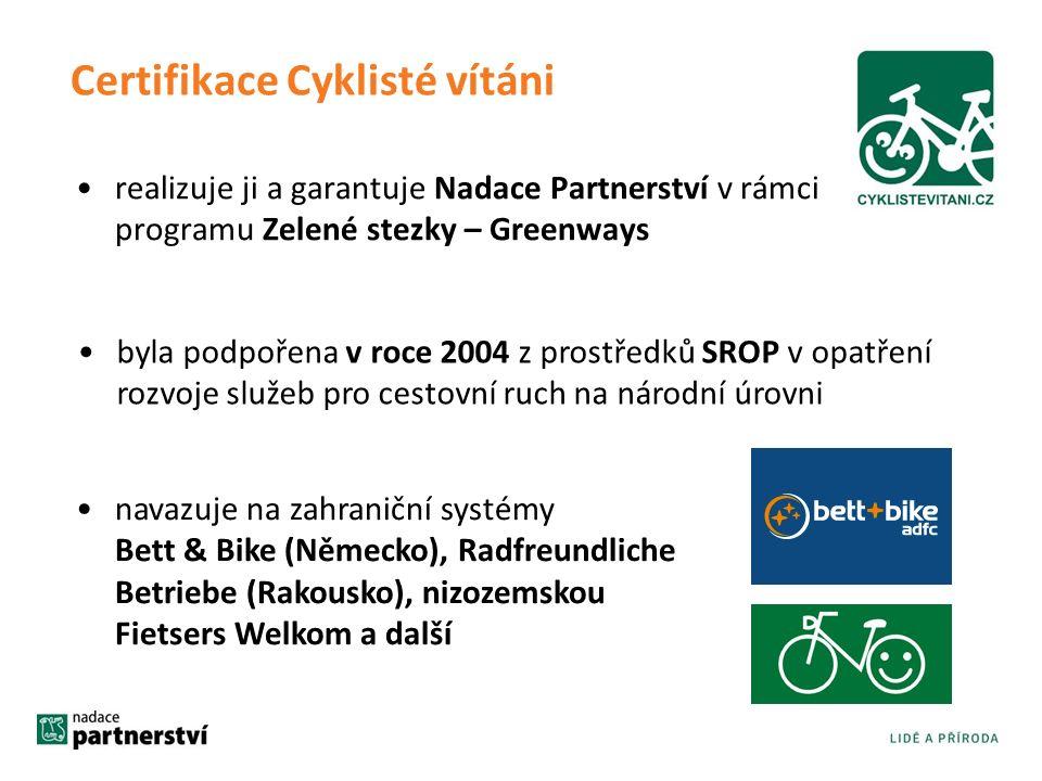 realizuje ji a garantuje Nadace Partnerství v rámci programu Zelené stezky – Greenways navazuje na zahraniční systémy Bett & Bike (Německo), Radfreundliche Betriebe (Rakousko), nizozemskou Fietsers Welkom a další Certifikace Cyklisté vítáni byla podpořena v roce 2004 z prostředků SROP v opatření rozvoje služeb pro cestovní ruch na národní úrovni