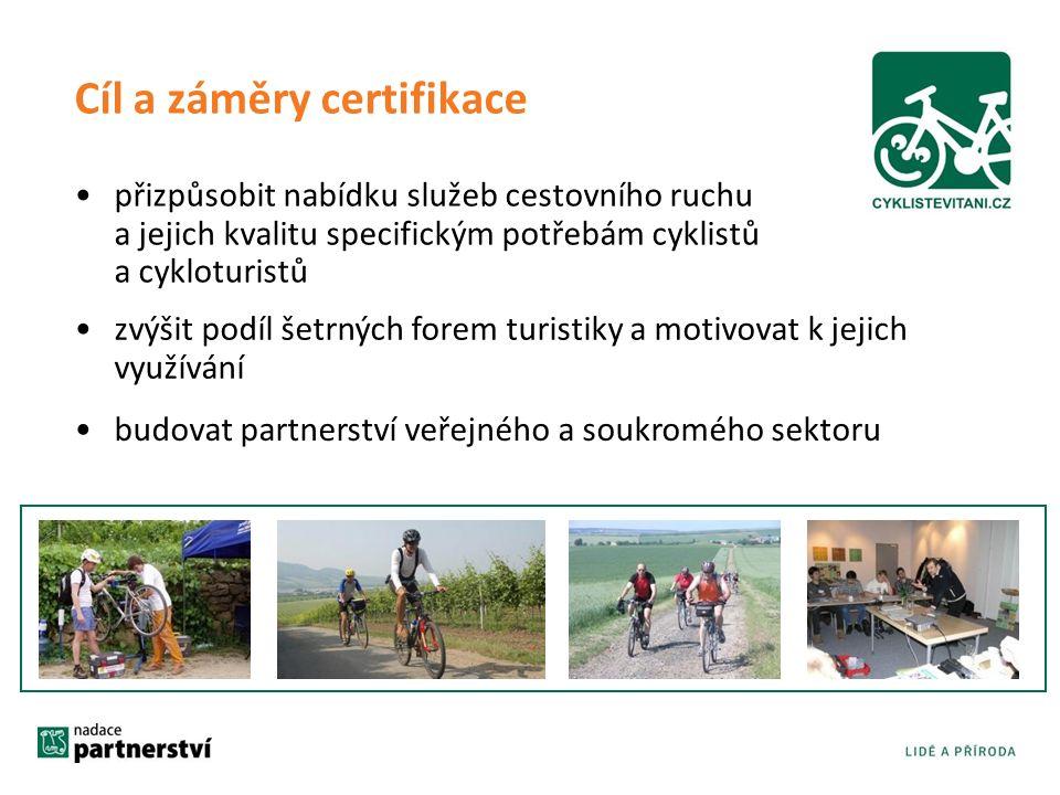 Cíl a záměry certifikace přizpůsobit nabídku služeb cestovního ruchu a jejich kvalitu specifickým potřebám cyklistů a cykloturistů zvýšit podíl šetrných forem turistiky a motivovat k jejich využívání budovat partnerství veřejného a soukromého sektoru