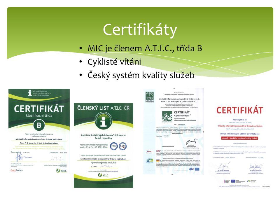 Certifikáty MIC je členem A.T.I.C., třída B Cyklisté vítáni Český systém kvality služeb