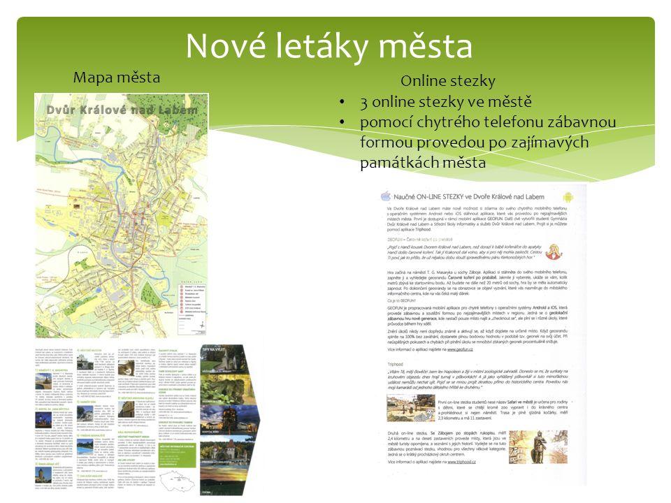 Nové letáky města Mapa města Online stezky 3 online stezky ve městě pomocí chytrého telefonu zábavnou formou provedou po zajímavých památkách města