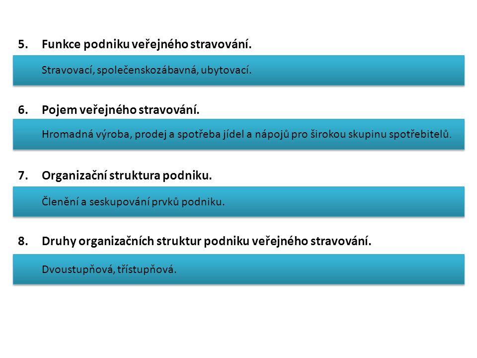 5.Funkce podniku veřejného stravování. 6.Pojem veřejného stravování.
