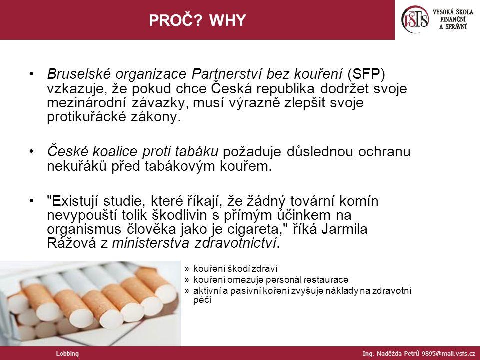 Bruselské organizace Partnerství bez kouření (SFP) vzkazuje, že pokud chce Česká republika dodržet svoje mezinárodní závazky, musí výrazně zlepšit svoje protikuřácké zákony.