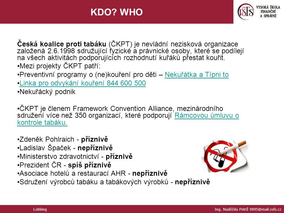 Česká koalice proti tabáku (ČKPT) je nevládní nezisková organizace založená 2.6.1998 sdružující fyzické a právnické osoby, které se podílejí na všech aktivitách podporujících rozhodnutí kuřáků přestat kouřit.