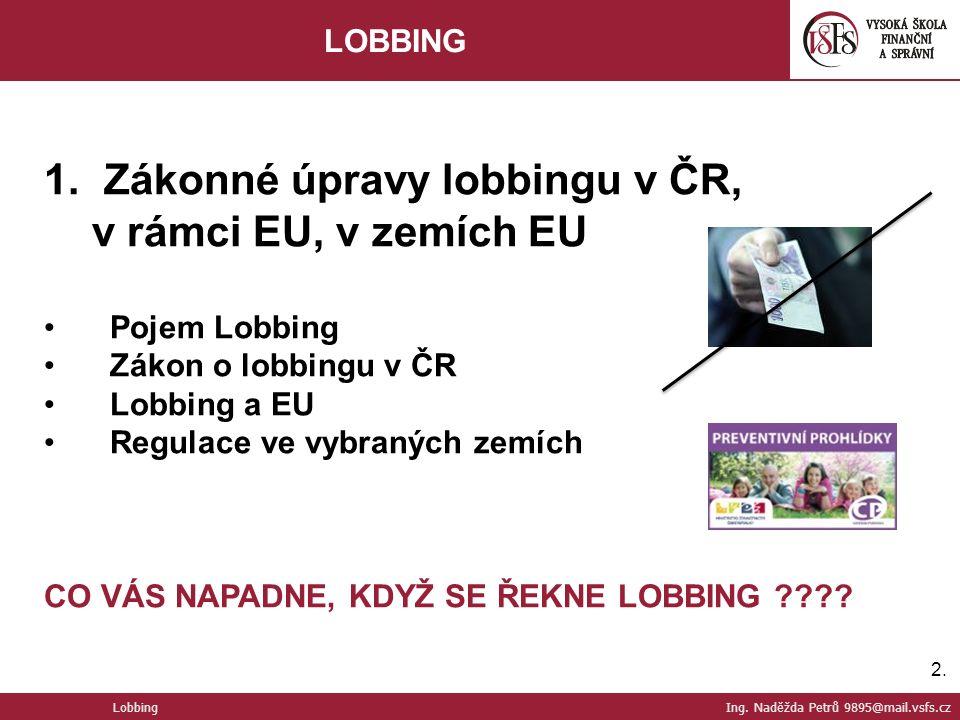 2.2. Lobbing Ing. Naděžda Petrů 9895@mail.vsfs.cz LOBBING 1.