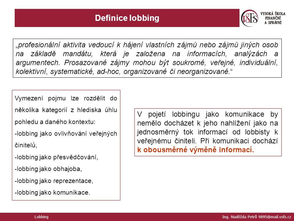 """Definice lobbing Lobbing Ing. Naděžda Petrů 9895@mail.vsfs.cz """"profesionální aktivita vedoucí k hájení vlastních zájmů nebo zájmů jiných osob na zákla"""