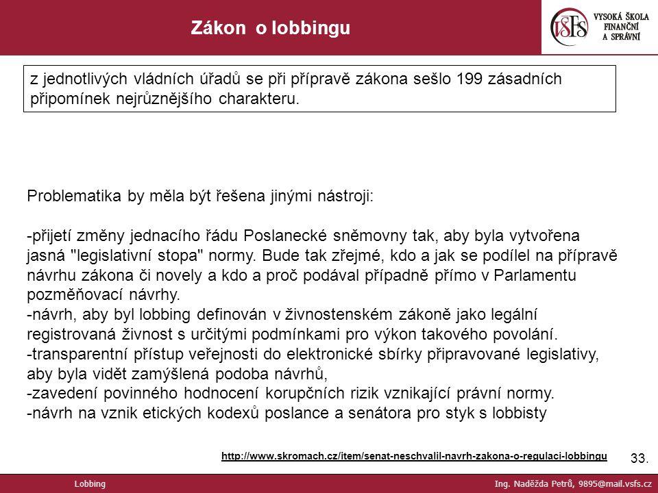 33. Zákon o lobbingu http://www.skromach.cz/item/senat-neschvalil-navrh-zakona-o-regulaci-lobbingu Lobbing Ing. Naděžda Petrů, 9895@mail.vsfs.cz z jed