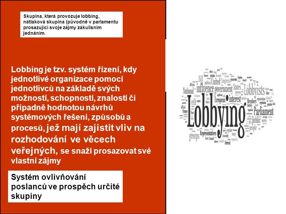 Typy regulace lobbingu Lobbing Ing.