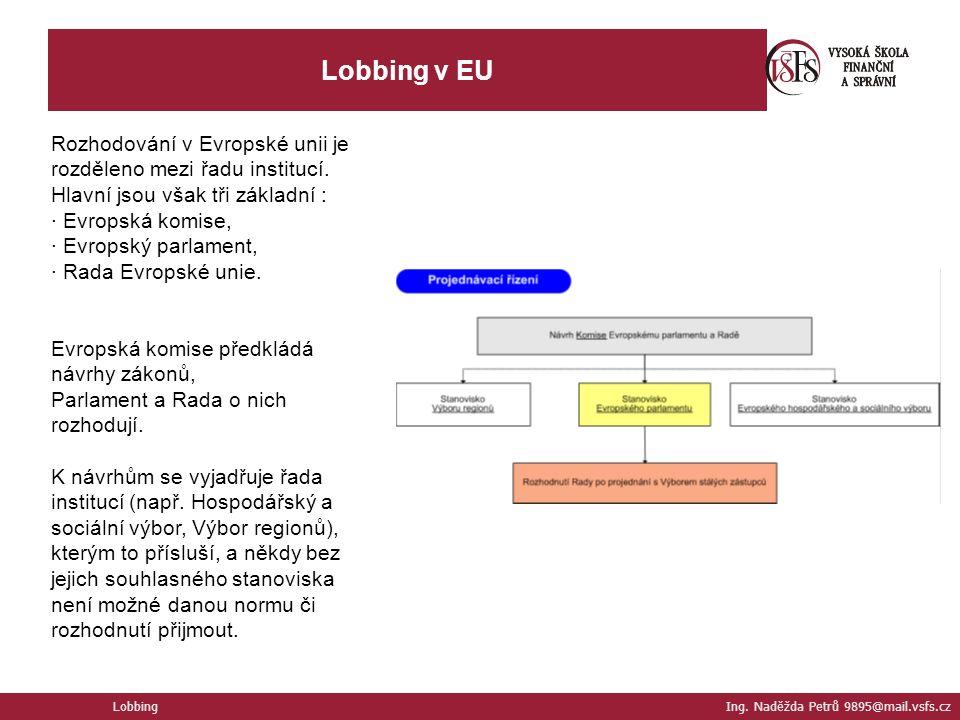 Lobbing v EU Rozhodování v Evropské unii je rozděleno mezi řadu institucí.