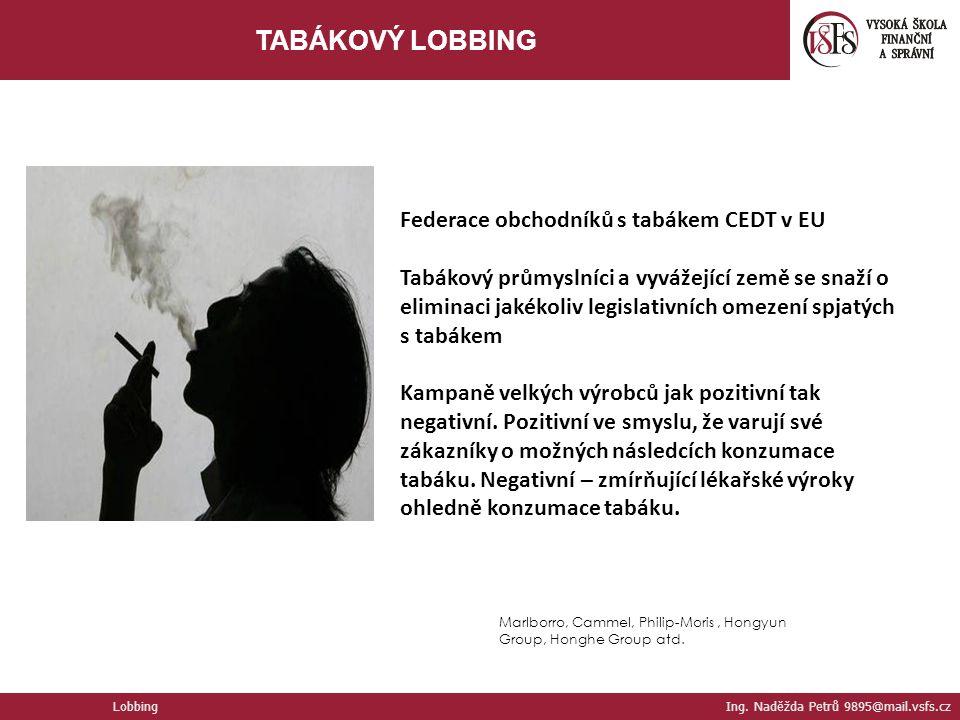 Marlborro, Cammel, Philip-Moris, Hongyun Group, Honghe Group atd. Federace obchodníků s tabákem CEDT v EU Tabákový průmyslníci a vyvážející země se sn