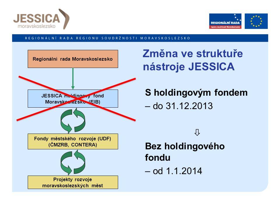 Změna ve struktuře nástroje JESSICA S holdingovým fondem – do 31.12.2013  Bez holdingového fondu – od 1.1.2014 Regionální rada Moravskoslezsko JESSICA Holdingový fond Moravskoslezsko (EIB) Fondy městského rozvoje (UDF) (ČMZRB, CONTERA) Projekty rozvoje moravskoslezských měst