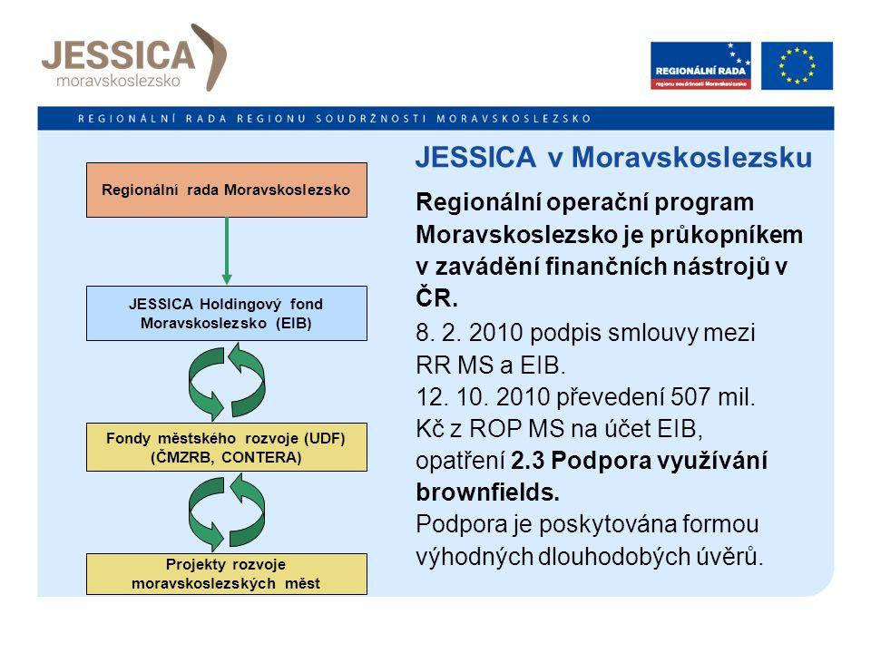 Regionální rada Moravskoslezsko JESSICA Holdingový fond Moravskoslezsko (EIB) Fondy městského rozvoje (UDF) (ČMZRB, CONTERA) Projekty rozvoje moravskoslezských měst JESSICA v Moravskoslezsku 4 Regionální operační program Moravskoslezsko je průkopníkem v zavádění finančních nástrojů v ČR.