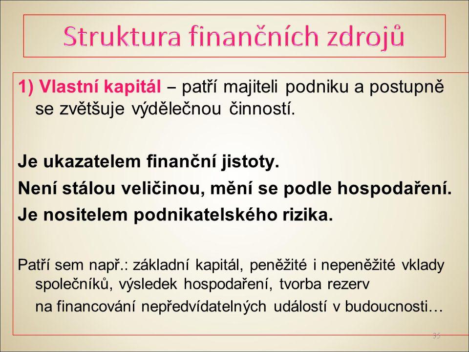 1) Vlastní kapitál ‒ patří majiteli podniku a postupně se zvětšuje výdělečnou činností.
