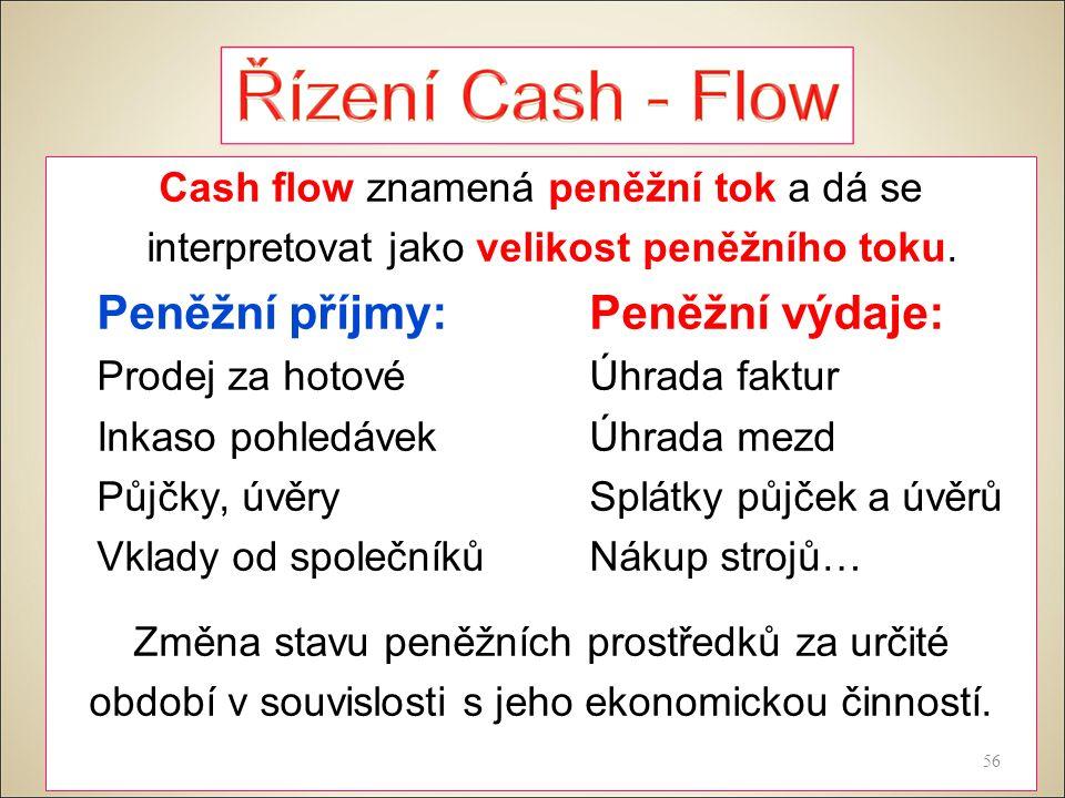 Cash flow znamená peněžní tok a dá se interpretovat jako velikost peněžního toku.