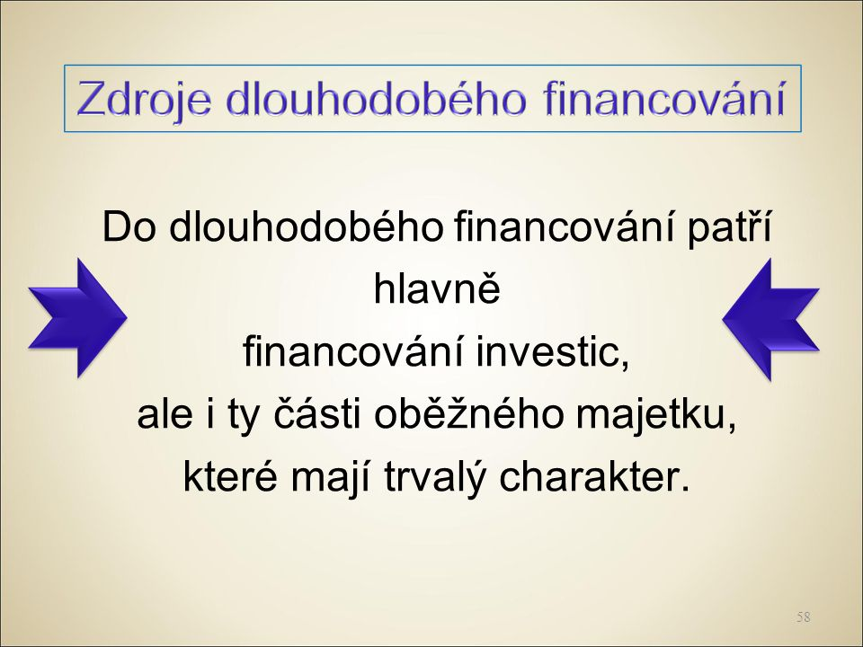 Do dlouhodobého financování patří hlavně financování investic, ale i ty části oběžného majetku, které mají trvalý charakter.