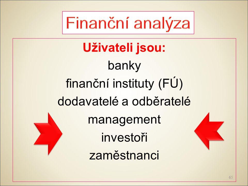 Uživateli jsou: banky finanční instituty (FÚ) dodavatelé a odběratelé management investoři zaměstnanci 65