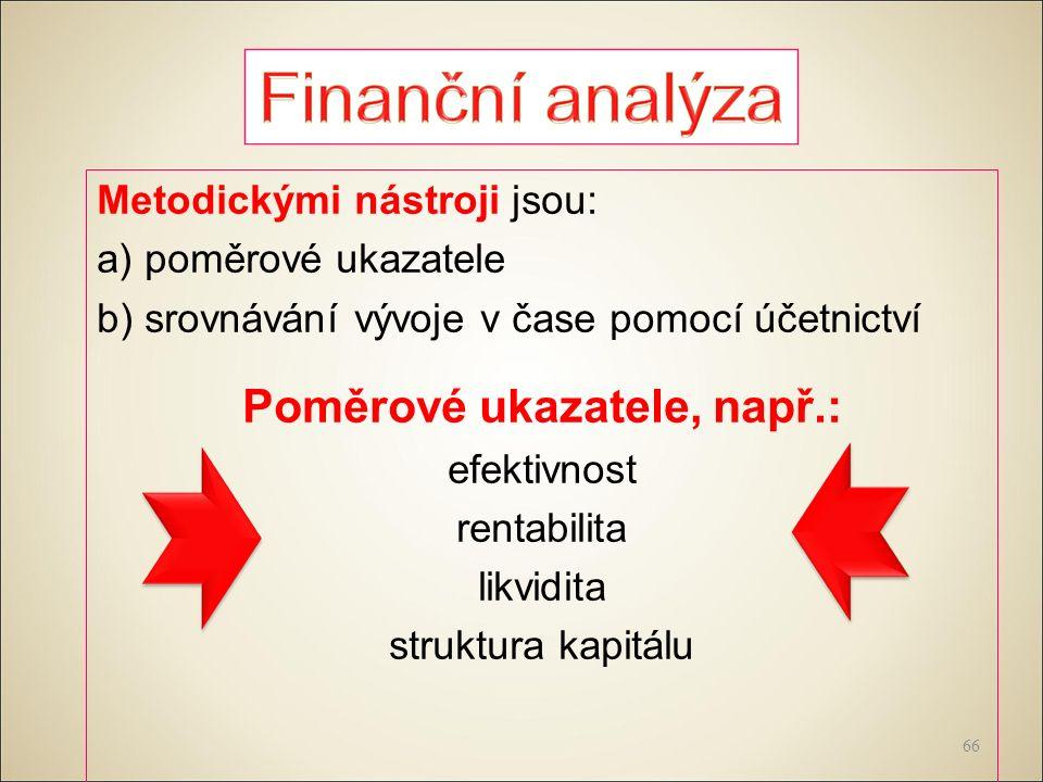 Metodickými nástroji jsou: a) poměrové ukazatele b) srovnávání vývoje v čase pomocí účetnictví Poměrové ukazatele, např.: efektivnost rentabilita likvidita struktura kapitálu 66