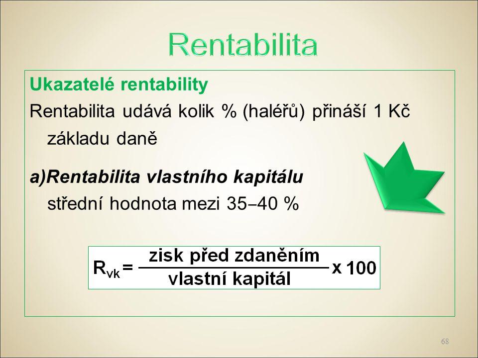 Ukazatelé rentability Rentabilita udává kolik % (haléřů) přináší 1 Kč základu daně a)Rentabilita vlastního kapitálu střední hodnota mezi 35 ‒ 40 % 68