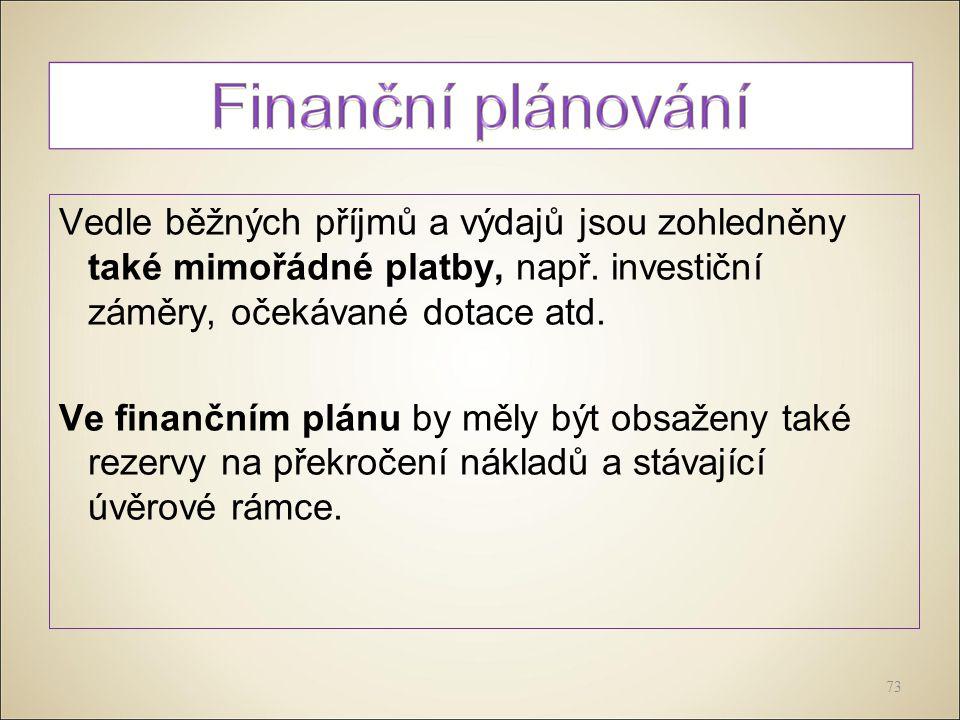 Vedle běžných příjmů a výdajů jsou zohledněny také mimořádné platby, např.