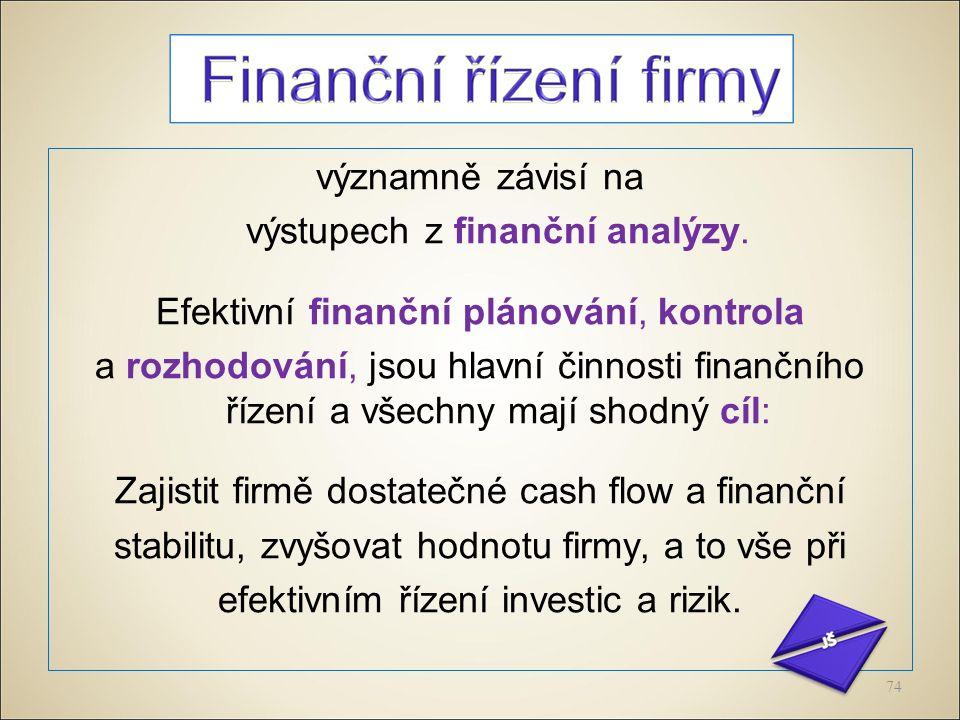 významně závisí na výstupech z finanční analýzy.
