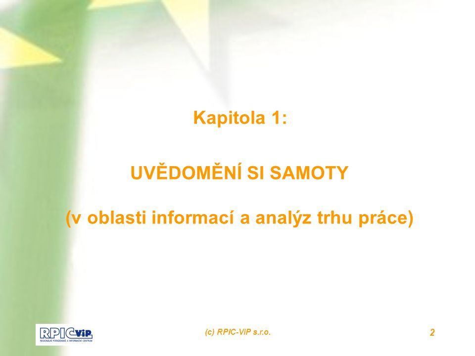 (c) RPIC-ViP s.r.o. 2 Kapitola 1: UVĚDOMĚNÍ SI SAMOTY (v oblasti informací a analýz trhu práce)