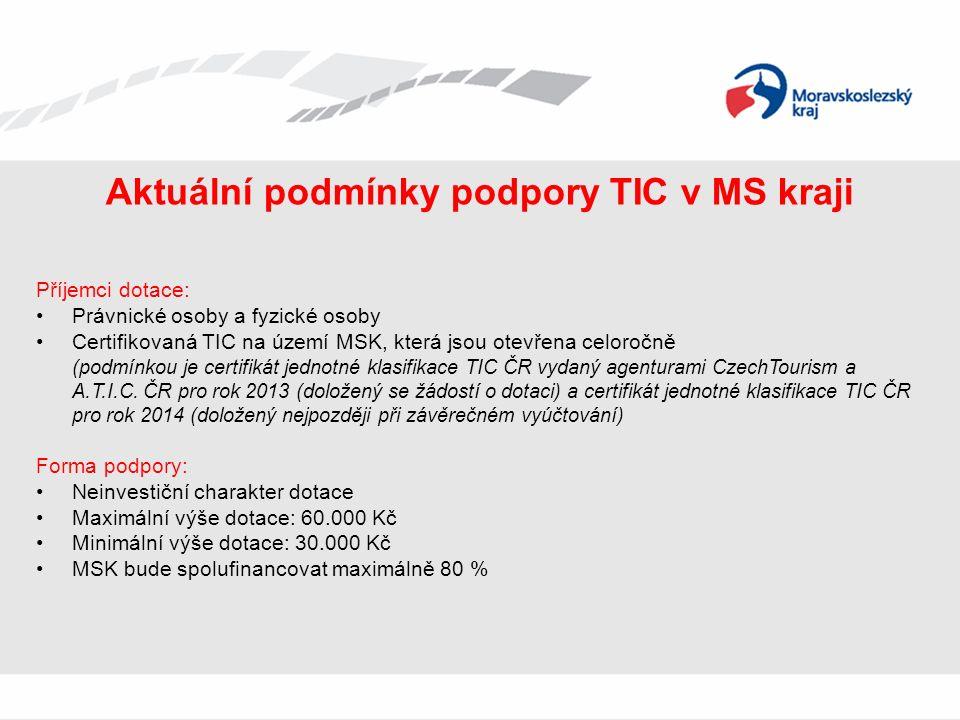 Aktuální podmínky podpory TIC v MS kraji Příjemci dotace: Právnické osoby a fyzické osoby Certifikovaná TIC na území MSK, která jsou otevřena celoročně (podmínkou je certifikát jednotné klasifikace TIC ČR vydaný agenturami CzechTourism a A.T.I.C.